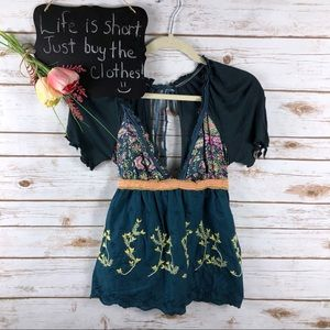 Free People floral embroidered plunge low back top
